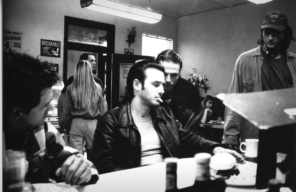 David Arquette, Jason Wiles, Robert Rodriguez on the set of Roadracers (1994).