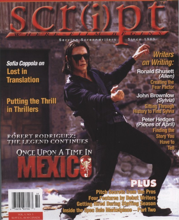 "Agent Sands (Script Magazine, article about ""Once Upon a Time in Mexico"")."