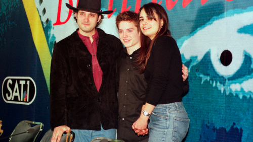 Robert Rodriguez at the Berlin Film Festival for the 1999 premiere of The Faculty.