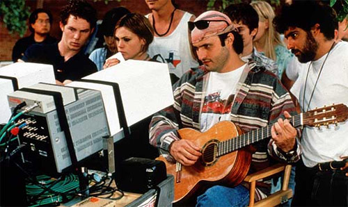 Shawn Hatosy, Clea Duvall and Robert Rodriguez on-set of The Faculty (1998).