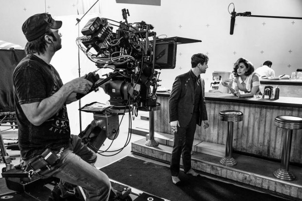 Joseph Gordon-Levitt and Lady Gaga behind the scenes of the upcoming Sin City: A Dame to Kill For (2014), co-directed by Robert Rodriguez and Frank Miller.